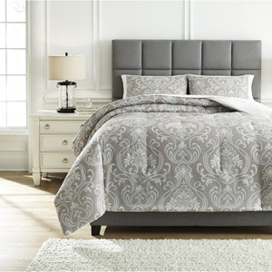 Queen Noel Gray/Tan Comforter Set