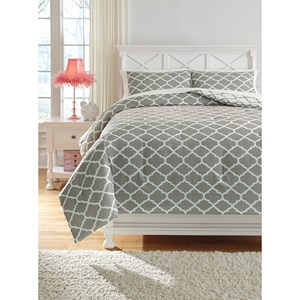 Full Media Gray/White Comforter Set