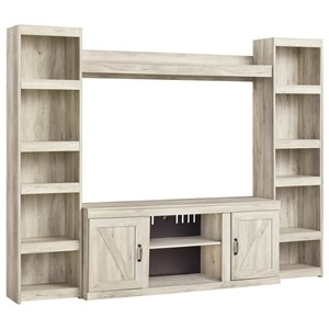 Farmhouse TV Stand with 2 Piers and Bridge