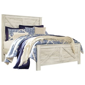 White Finish Farmhouse Style Queen Panel Bed with Cross-Buck Design