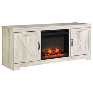 Large TV Stand in Rustic White Finish with Fireplace