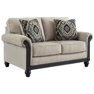 Traditional Loveseat with Turned Bun Feet