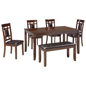 Contemporary 6-Piece Dining Room Table Set with Bench