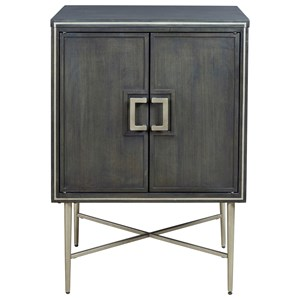 Gray Finish Accent Cabinet with Silver Finish Metal Accents