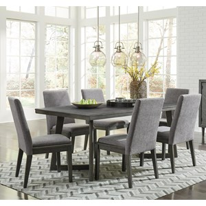 Contemporary Seven Piece Dining Set with Distressed Finish