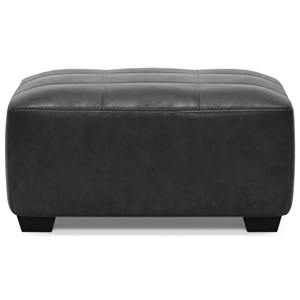 Faux Leather Square Oversized Accent Ottoman