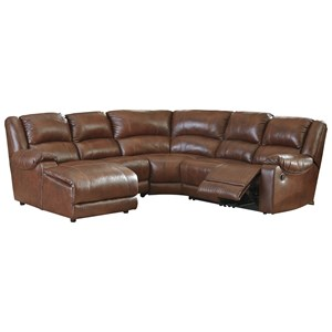 Leather Match Reclining Sectional with Left Chaise