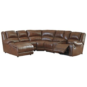 Leather Match Reclining Sectional with Left Chaise & Console