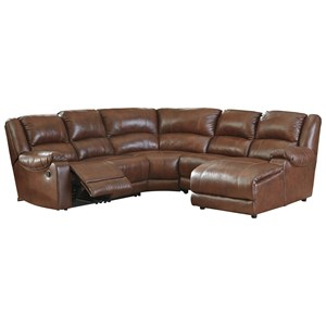 Leather Match Reclining Sectional with Right Chaise