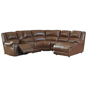Leather Match Reclining Sectional with Right Chaise & Console