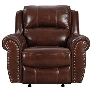 Traditional Rocker Recliner with Nailhead Trim
