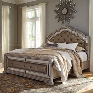 King Upholstered Bed in Silver Finish