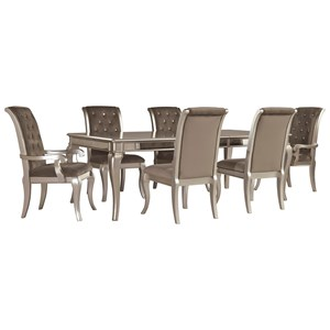 Glam 7-Piece Rectangular Dining Table Set with Arm Chairs in Silver Finish