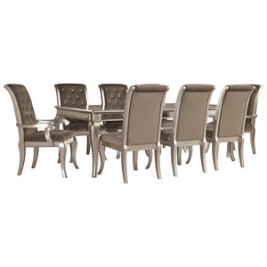 Glam 9-Piece Rectangular Dining Table Set in Silver Finish