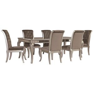 Glam 7-Piece Rectangular Dining Table Set in Silver Finish