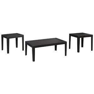 Distressed Black Finish Occasional Table Set