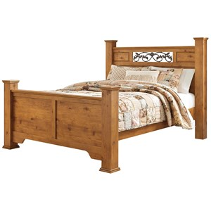 Queen Poster Bed with Scrolled Accents