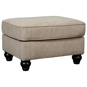 Ottoman with Turned Feet in Dark Finish