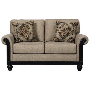 Transitional Loveseat with Showood Trim in Dark Finish