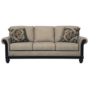 Transitional Sofa with Rolled Arms & Showood Trim in Dark Finish