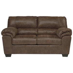 Casual Faux Leather Loveseat