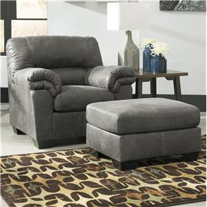 Casual Faux Leather Chair & Ottoman