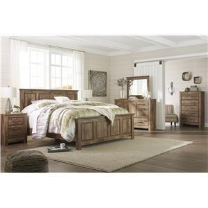 Queen Panel Bed, Dresser, Mirror and Nightstand Package