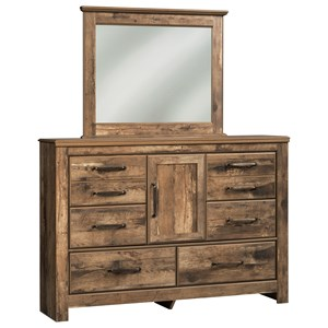 Rustic Style Dresser with Door & Bedroom Mirror