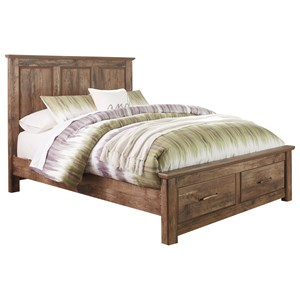 Rustic Style Queen Panel Storage Bed