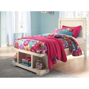 Twin Panel Storage Bed with Open Footboard Storage