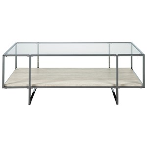 Modern Rectangular Cocktail Table with Glass Top