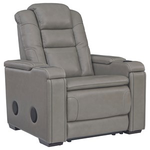 Leather Match Power Recliner with Adjustable Headrest, Bluetooth Speakers, Cup Holders, and USB/Wireless Charging