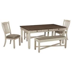 6 PC Rect Table, 2 UPH Accent Chairs, 2 UPH Side Chairs and Bench Set