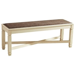Relaxed Vintage Upholstered Dining Room Bench with Nailhead Trimming
