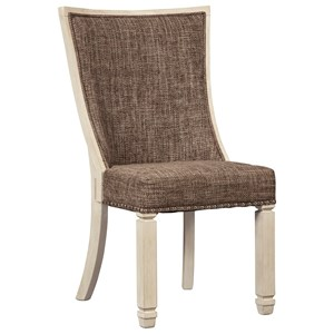 Relaxed Vintage Upholstered Side Chair with Back Motif