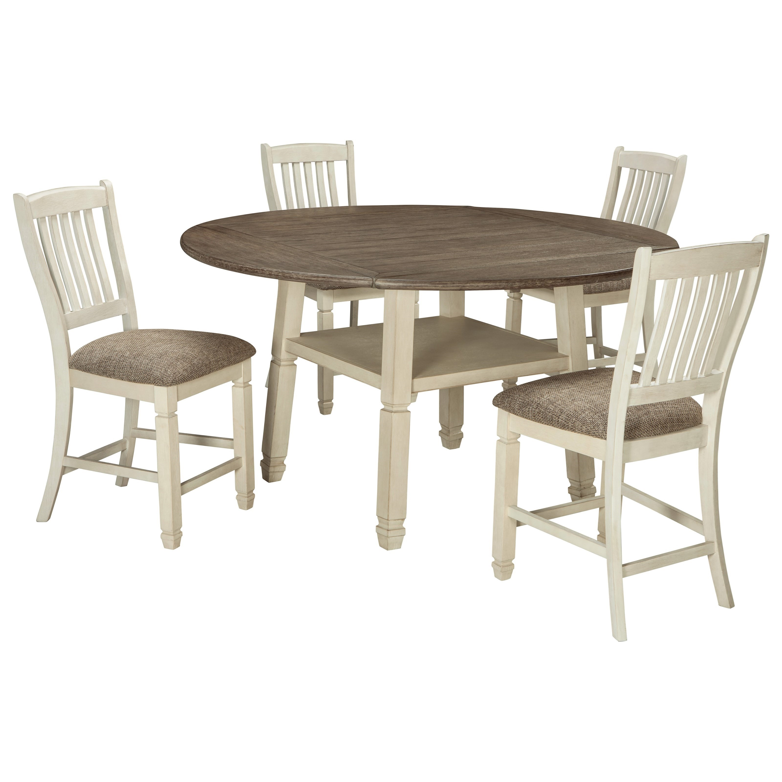 Bolanburg 5-Piece Round Drop Leaf Counter Table Set by Signature Design by Ashley at Zak's Warehouse Clearance Center