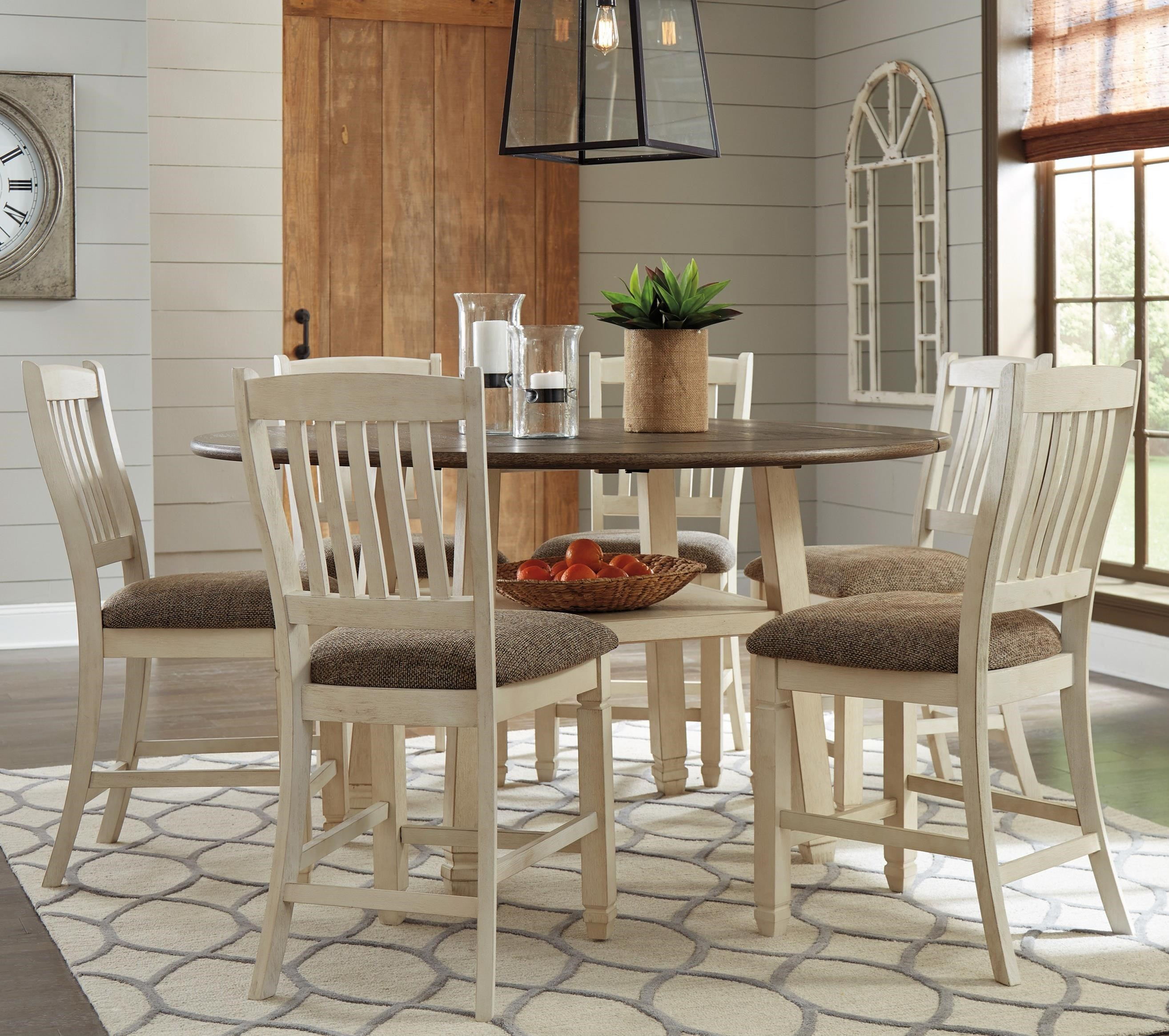 Bolanburg 7-Piece Round Drop Leaf Counter Table Set by Signature Design by Ashley at Beck's Furniture