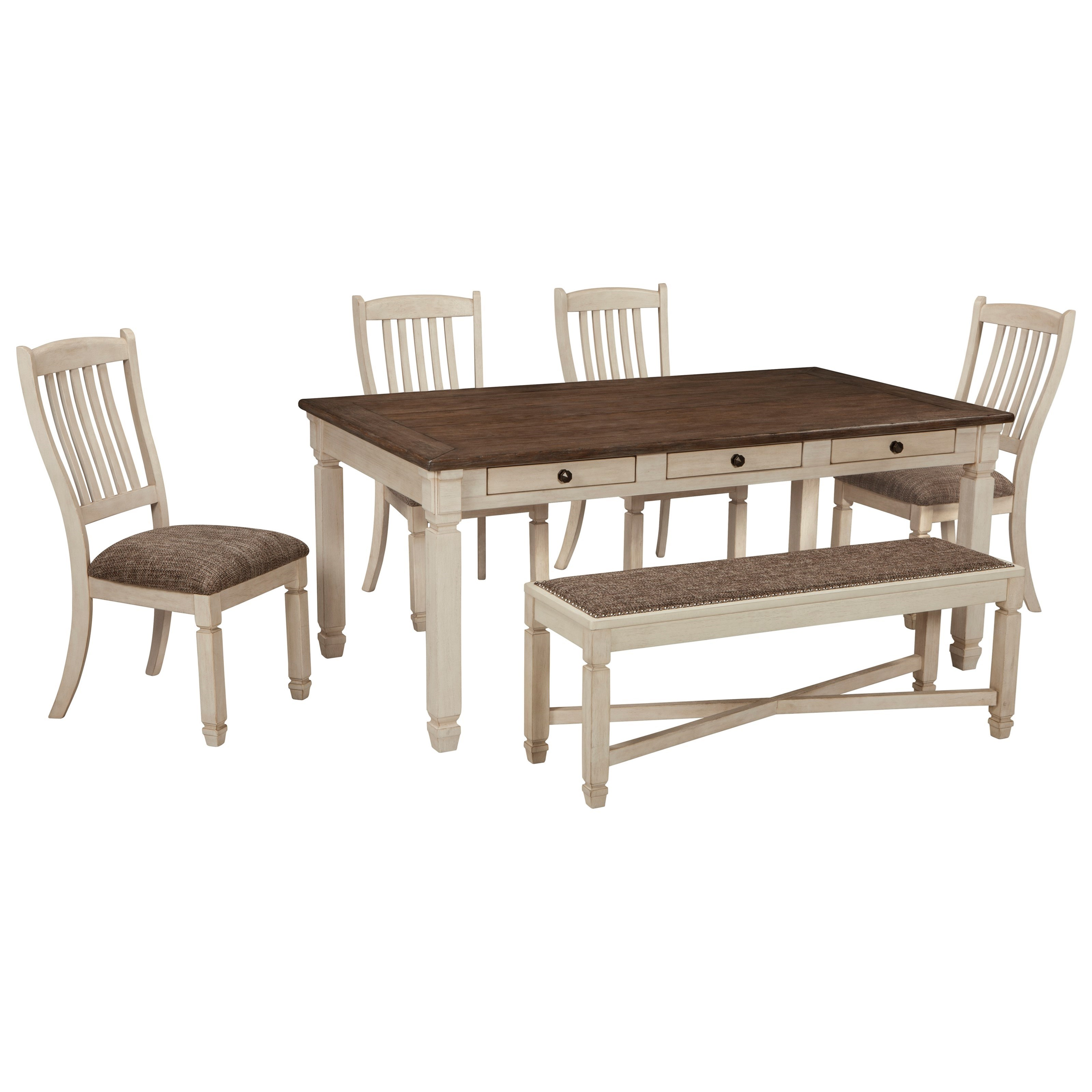 Bolanburg Table and Chair Set with Bench by Signature Design by Ashley at Beck's Furniture