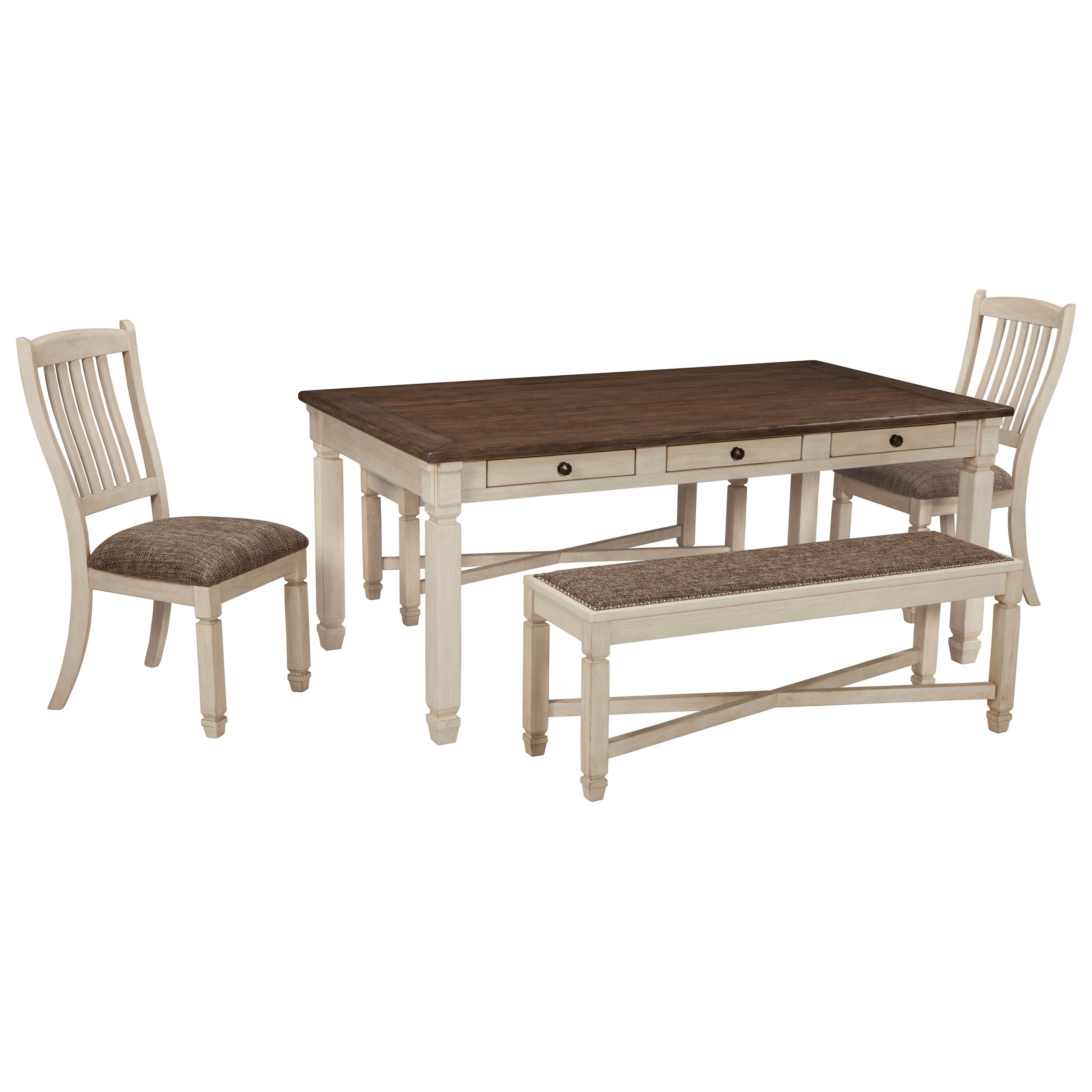 Bolanburg Table and Chair Set with Bench by Ashley (Signature Design) at Johnny Janosik