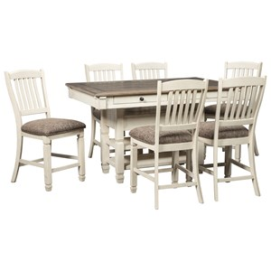 Relaxed Vintage 7-Piece Counter Table with Wine Storage and Stool Set