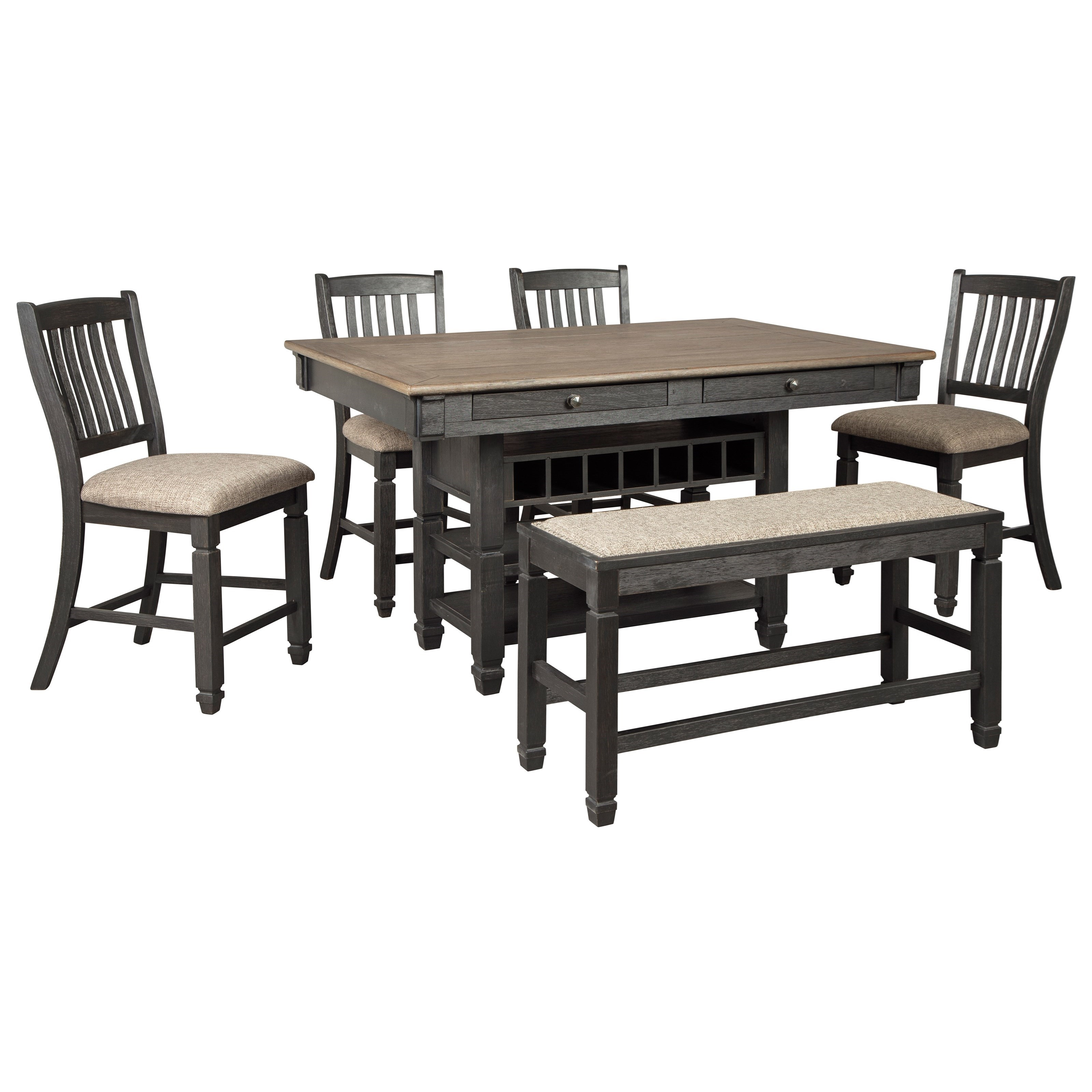 Tyler Creek 6-Piece Counter Table Set with Bench by Signature Design by Ashley at Sparks HomeStore
