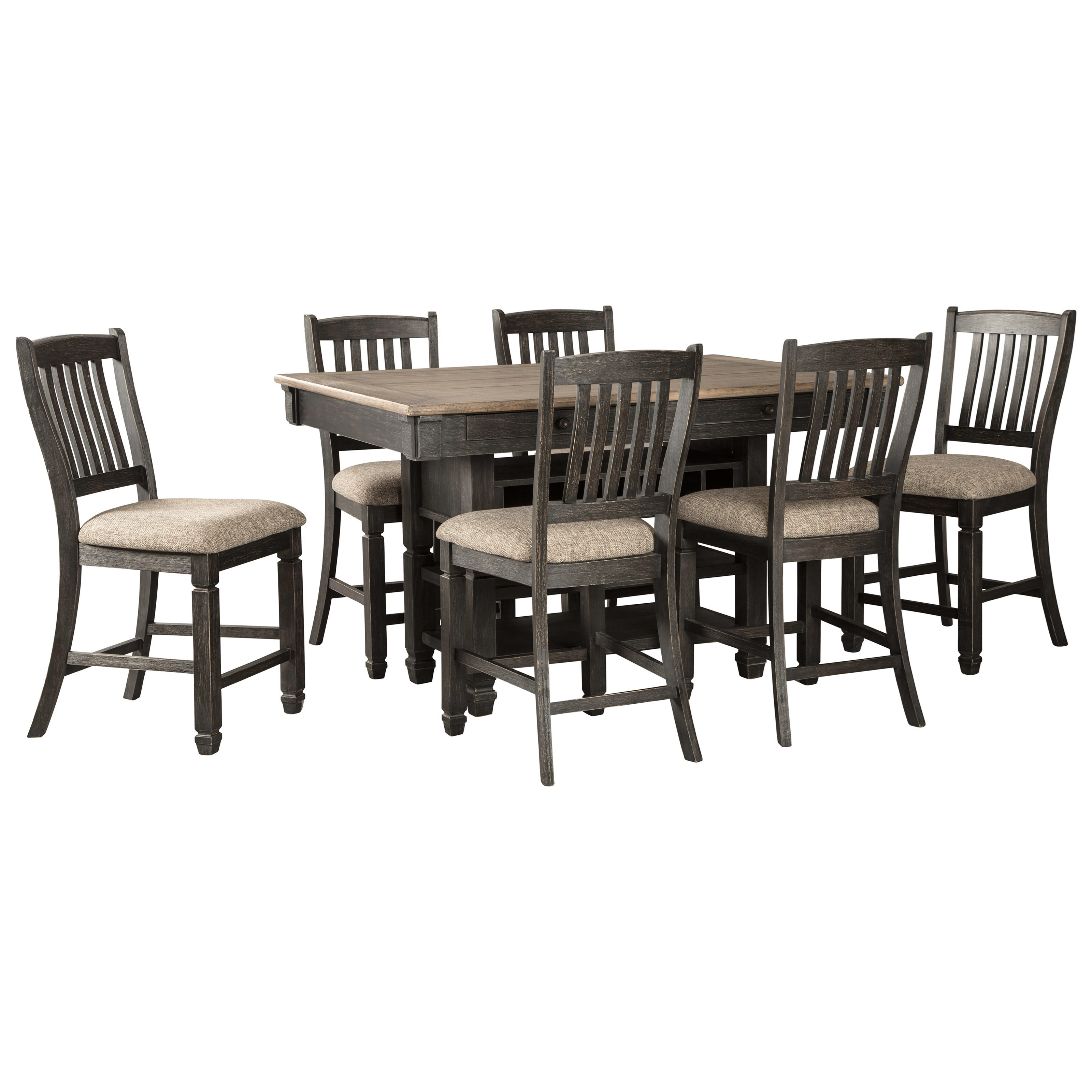 Tyler Creek 7-Piece Counter Table and Stool Set by Signature Design by Ashley at Beck's Furniture
