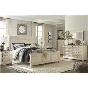 King Panel Bed with Louvered Headboard, Dresser, Mirror, 2 Nightstands and Chest Package