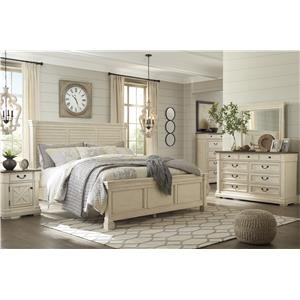 Queen Panel Bed with Louvered Headboard, Dresser, Mirror and Nightstand Package