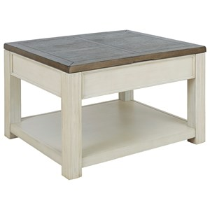 Two-Tone Rectangular Lift Top Cocktail Table