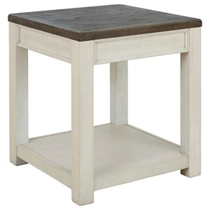 Two-Tone Square End Table