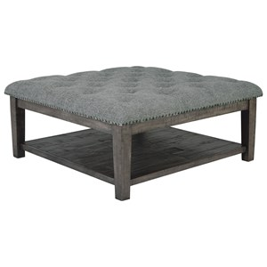 Contemporary Ottoman Cocktail Table with Nailhead Trim