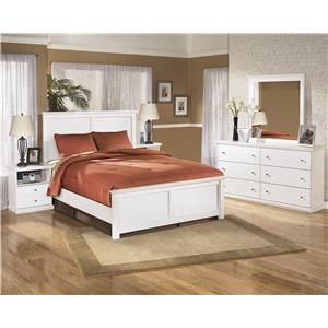 Twin Panel Bed, Nightstand, Dresser and Mirror Package