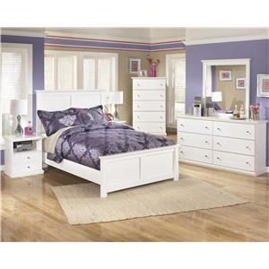 Queen Panel Bed, 2 Nightstands, Chest, Dresser and Mirror Package
