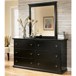 Casual 6 Drawer Dresser and Moulded Landscape Mirror